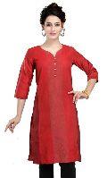 Red Revelation Cotton Silk Tunic for Women