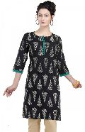 The Black Blaze Short Tunic for Women with Printed Design