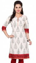 The Contemporary Affair White Cotton Tunic with Block Print