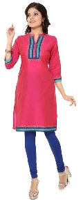 The Simple Look Hot Pink Casual Tunic in Cotton