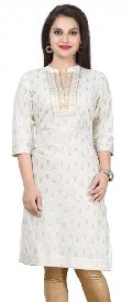 White Gold Embrace Short Cotton Party Wear Kurta for Women