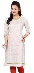 Witty White Casual Cotton Short Kurta with Floral Print