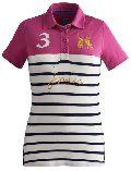 Ladies 100% Cotton Stripe Polo T-shirts