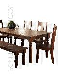 Carved Table Bench Dining Set