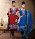 Designer Cotton Blue Red Salwar Suit