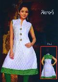 Indian White Self Printed Kurti