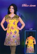 Printed Cotton Yellow Blue Kurti