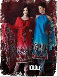 Stylish Printed Red Blue Salwar Suit