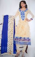Designer Cream Blue Ladies Suit