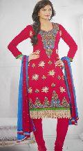Designer Dark Red Blue Ladies Suits