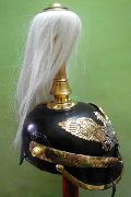 Leather Pickelhaube Prussian Helmet with White Crest