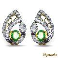 Designer White & Yellow Gold Diamond with Natural Emerald Earrings Carly in Delhi Karol Bagh