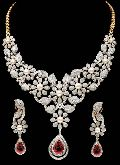Diamond Gemstone Necklace Set (CWDGGN0001)