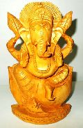 Wooden Ganesh Simply Statue